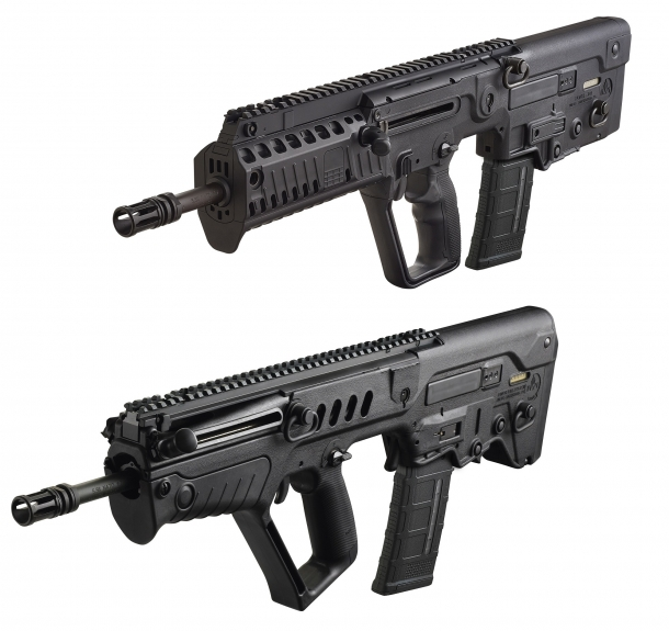 The IWI US X95 semi-automatic rifle, in comparison with the Tavor SAR rifle