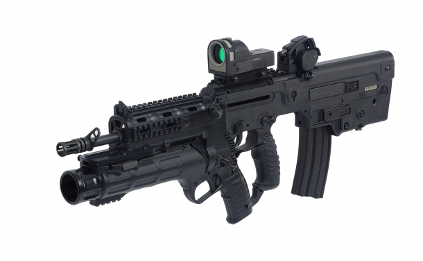 The first variant of the X95 assault rifle, hereby fitted with an IWI GL40 grenade launcher