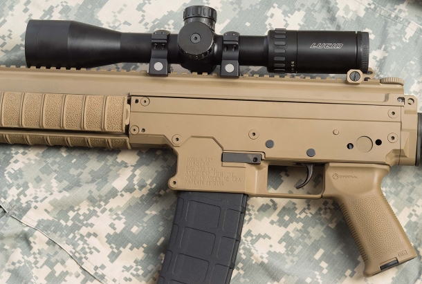 The Joshua MK5 is chambered for the 5.56x45mm/.223 Remington caliber, and feeds through STANAG magazines