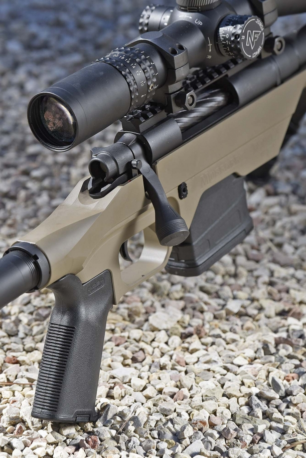 The Mossberg MVP LC rifle features a Magpul MOE pistol grip