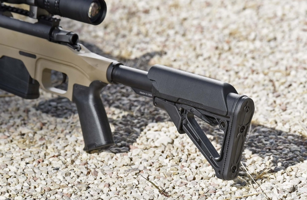 The Magpul CTR Mil-Spec stock, extended