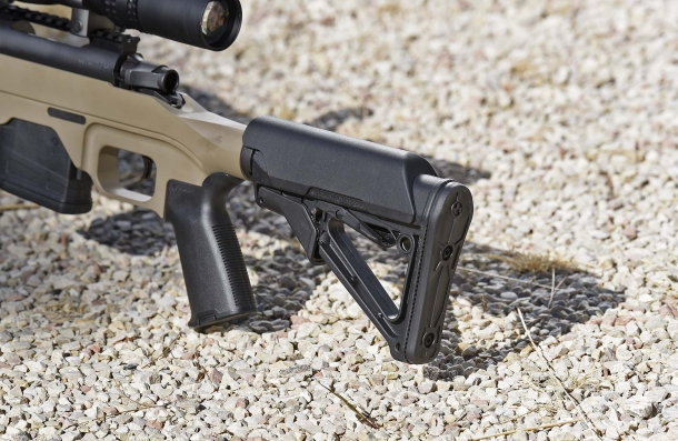 The Magpul CTR Mil-Spec stock, collapsed