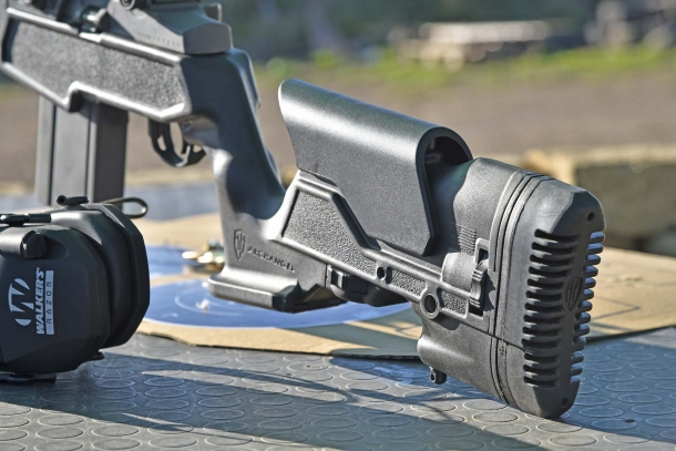The adjustable Archangel AAM1A stock of the rifle