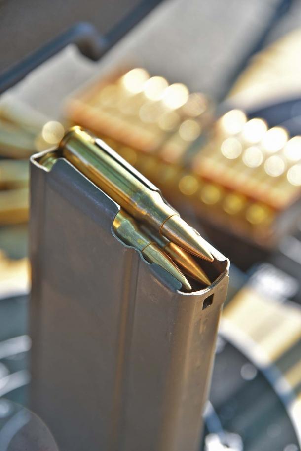 The metallci 20 rounds magazine of the SDM M25 Sniper System rifle
