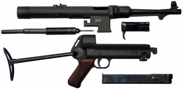 An original MP 38(l) sub-machine gun, field-stripped: the BD 38 strips basically in the same way