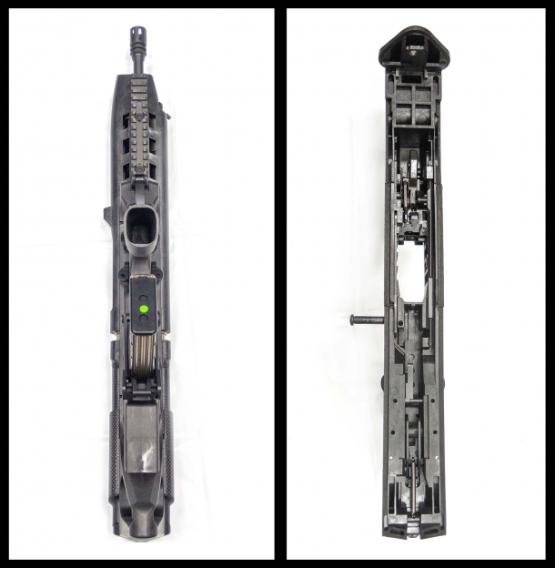 The BR18 seen from under, with its minimalist and thin lines, and a top view of the inside of the lower receiver, hosting the full trigger group