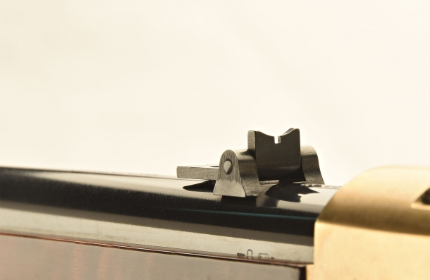 The folding leaf rear sight, lowered