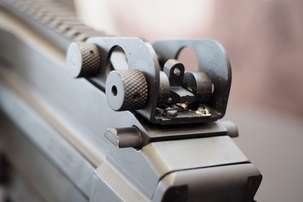 The adjustable rear sight on the Astra MG556 semi-automatic rifle