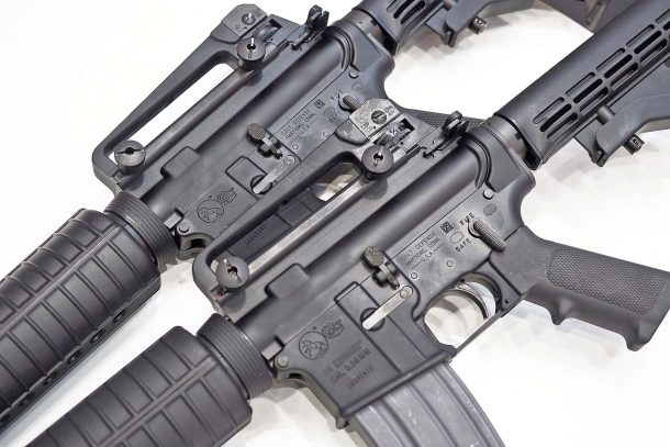 "The Colt M4 ""Commando"" semi-automatic carbines are plain-jane civilian versions of the Colt M4 and M933 assault rifles"