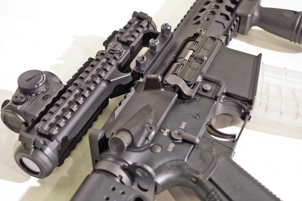 A close-up of the receiver of the STM 556 assault rifle