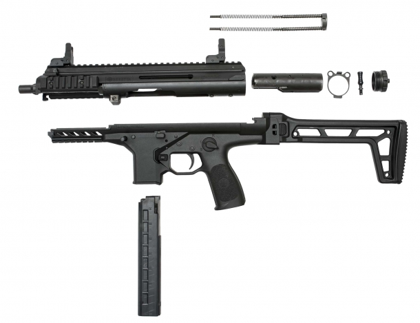 The Beretta PMX sub-machine gun, field-stripped