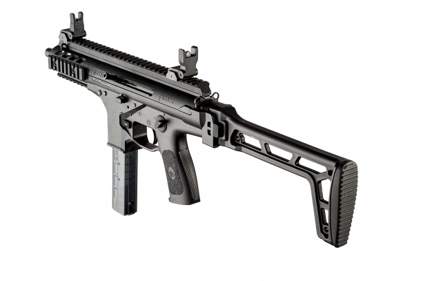 The side-folding solid polymer stock of the Beretta PMX can be replaced with an aluminum telescopic/collapsing stock for tactical applications