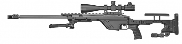 The CZ TSR rifle weighs 6,3 kilograms (13.9 lbs) and feeds through 10-rounds detachable magazines