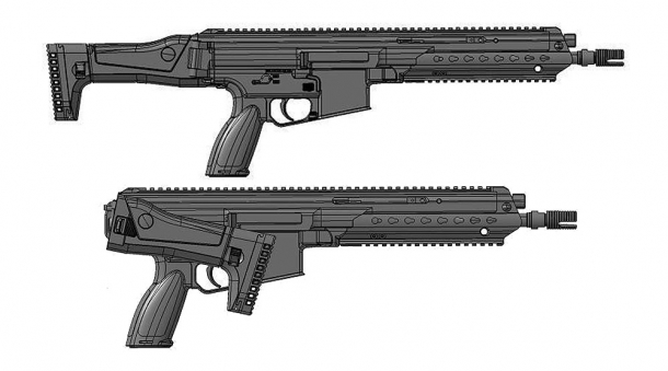 CAD drawing of the HK433 assault rifle