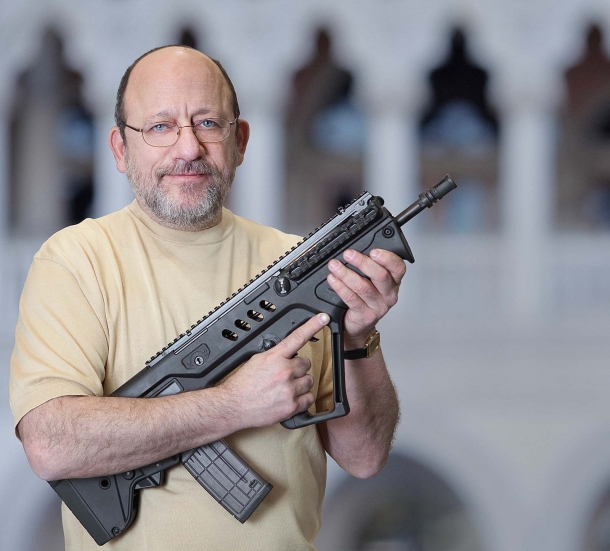 Michael Kassnar, VP of Sales and Marketing for IWI US, posing with the original Tavor SAR