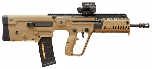 The TAVOR X95 is available in black, flat dark earth and olive drab green