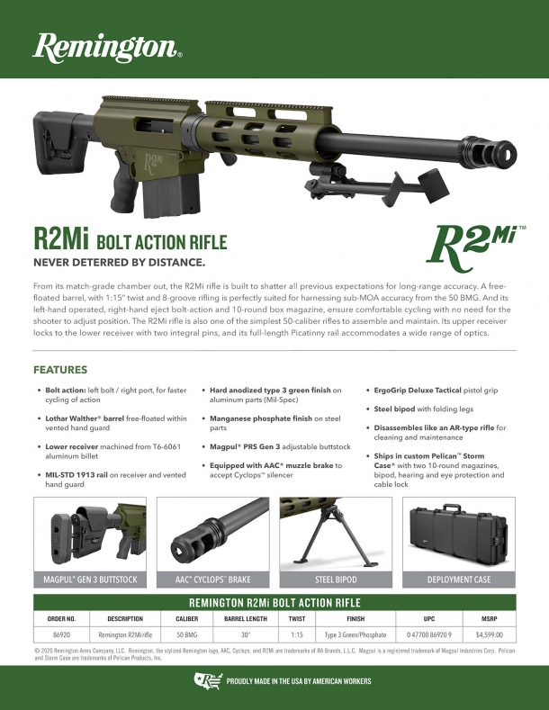 The sell-sheet for the Remington R2mi rifle, with its technical specs