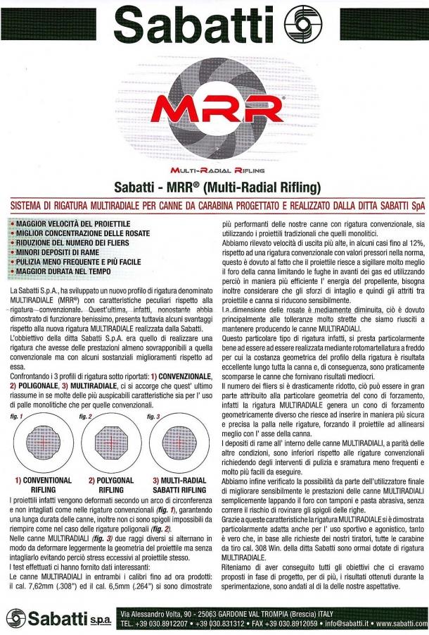Il volantino distribuito a HIT Show che illustra le caratteristiche delle canne MRR di Sabatti