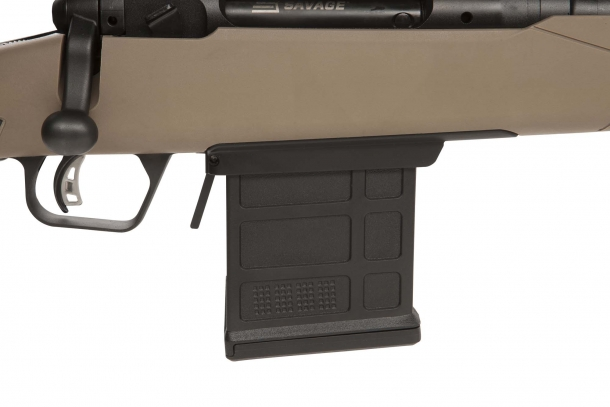 The Savage 110 Scout rifle feeds through detachable, AICS-compatible magazines