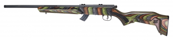 Savage Arms Mark II Minimalist rifle, green stock, left side