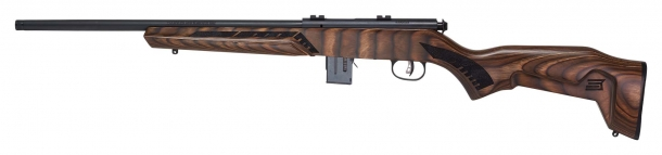 Savage Arms 93R17 Minimalist rifle, brown stock, right side