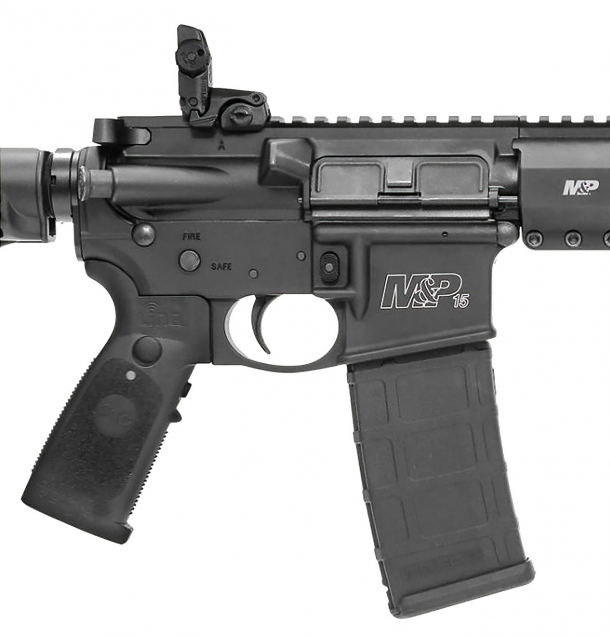The Smith & Wesson M&P15T Rifle receiver, with the Crimson Trace LiNQ grip