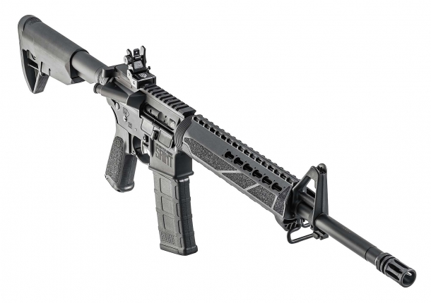 The Springfield Armory SAINT rifle comes with a top MIL-STD 1913 Picatinny rail and a KeyMod handguard