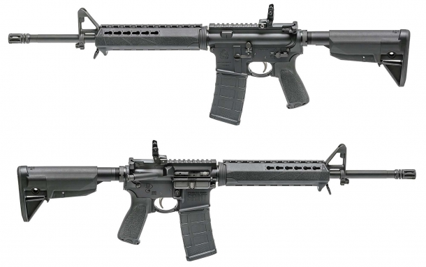 The SAINT rifle comes with an A2 fixed front post sight and a flip-up, adjustable rear sight