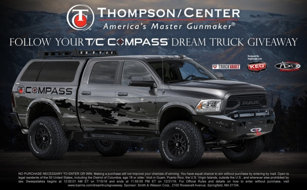 """To celebrate the shipping of the T/C Compass rifle, Thompson/Center Arms is launching the """"Follow Your Compass Dream Truck Giveaway"""" sweepstakes!"""