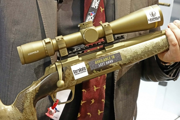 A close-up of the McMillan Game Scout stock and Cerakote Burnt Bronze finish