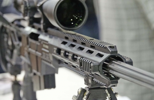 The rifle handguard comes fully railed, ready to accept any kind of accessory
