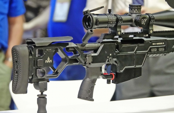 The IWI DAN .338 stock is foldable and fully adjustable