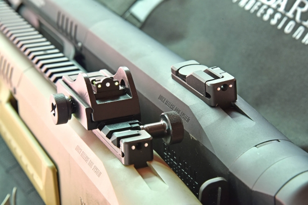 "The LPA Ghost Ring rear sight (left) compared to the standard low-profile rear sight of the basic ""Initial"" models"