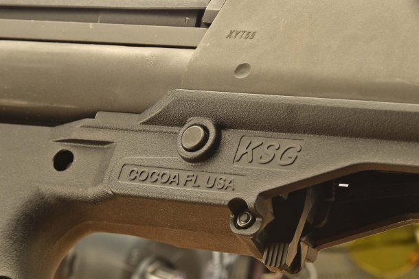 All it takes to field-strip the Kel-Tec KSG is to remove two passing pins located on the polymer lower receiver