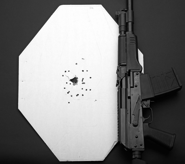 Accuracy test: single shot, pattern spread at a 4-meters distance