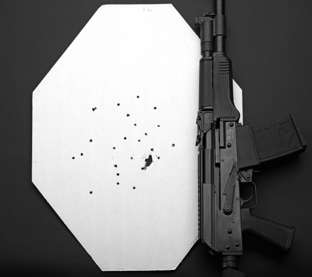 Accuracy test: single shot, pattern spread at a 7-meters distance