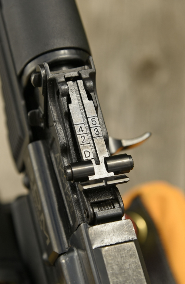 The adjustable AKM-style rear sight