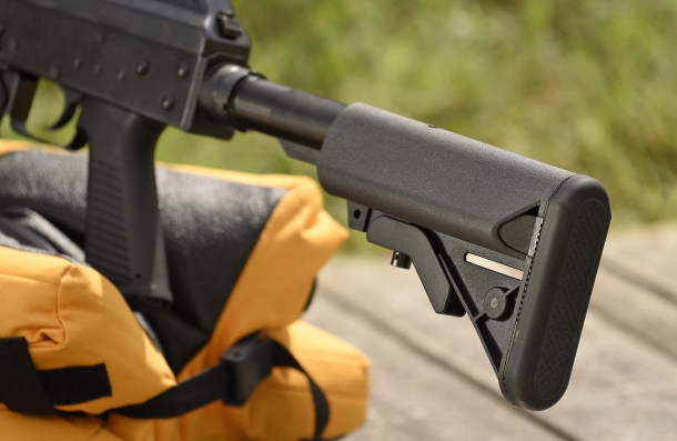 "The AR-15 style collapsible stock features a ""Crane""-design ambidextrous cheekpiece"