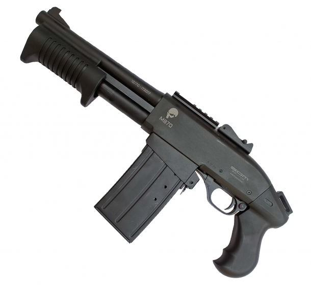 "The M870 ""Shorty Pistol"" is an ultra-short compact, magazine-fed version of the SDM M870 Adaptive Shotgun"