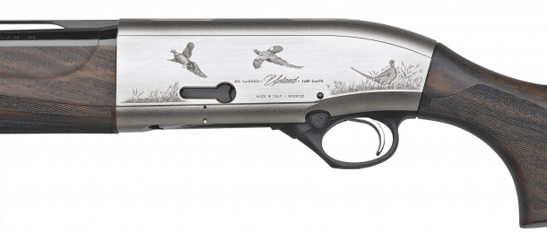 A detail of the fine engravings on the Beretta A400 Upland