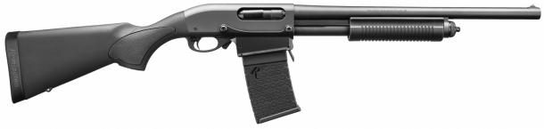 The Remington 870 DM shotgun in its black polymer furniture version