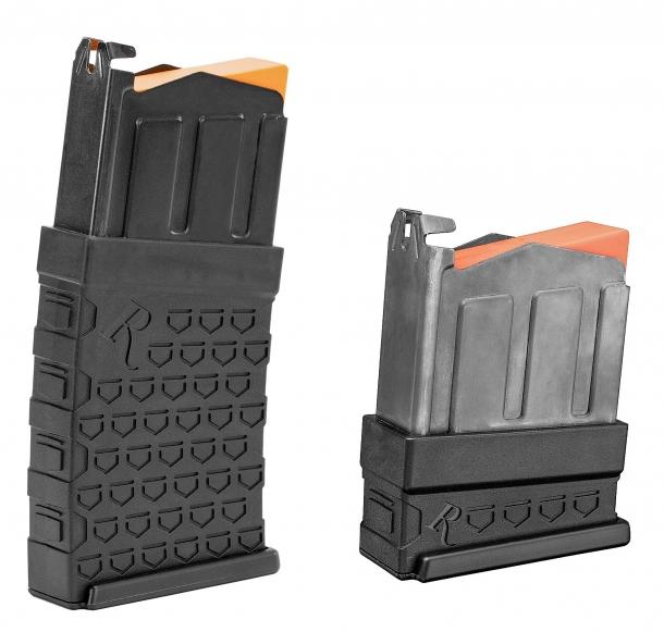 A sinistra, il caricatore prismatico amovibile da sei cartucce calibro 12 utilizzato sui Remington 870 DM. Per gli impieghi venatori saranno disponibili caricatori da tre cartucce