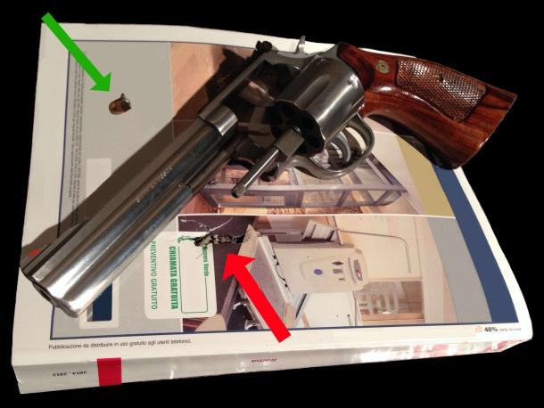 """da uno degli elenchi telefonici utilizzati per le prove ho estratto la palla di una cartuccia .357 Magnum sparata con un revolver Smith & Wesson modello 686 con canna da 6"""""""