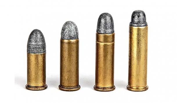 From left: .38 Short Colt, .38 Long Colt, .38 Special, .357 Magnum