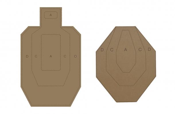 I due tipi di sagome più diffuse sui campi di tiro: a sinistra il bersaglio IDPA, a destra quello IPSC