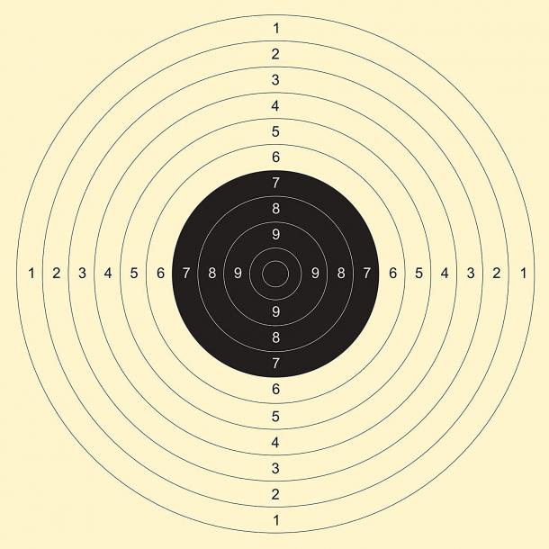 Il classico bersaglio utilizzato nelle gare di tiro pistola standard a 25 metri e pistola libera a 50 metri. queste gare esaltano la destrezza nel tiro mirato ma non hanno nulla a che vedere con il tiro da difesa.