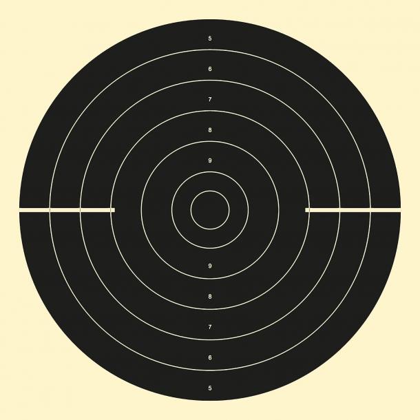 """Sagoma utilizzata per il tiro rapido a 25 m nelle gare di Pistola Automatica o Pistola Sportiva, il cosiddetto """"sette/tre"""" (sagoma chiusa per 7 secondi, aperta per 3)"""