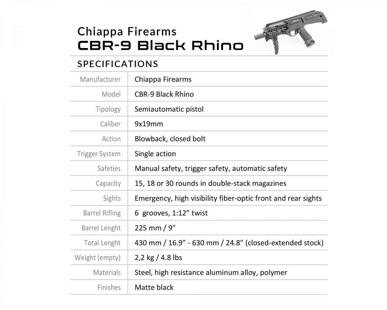 Chiappa Firearms CBR-9 Black Rhino pistol specifications