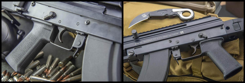 Viste laterali del corpo centrale dell'arma: sopra l'impugnatura è visibile la leva ambidestra della sicura