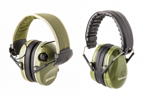Two new earmuffs from Brownells: an Premium Electronic model and a Diverter Passive one